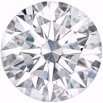 Certified Round Hearts & Arrows Forever One Charles & Colvard Loose Moissanite Stone - 2.00 Carats - D Color - VVS1 Clarity