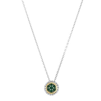 18k Gold And Sterling Silver Emerald Fancy Necklace