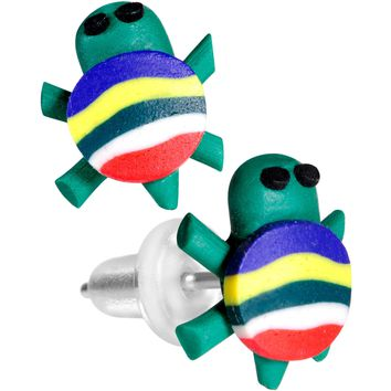 Handcrafted Silver Plated Rainbow Turtle Stud Earrings