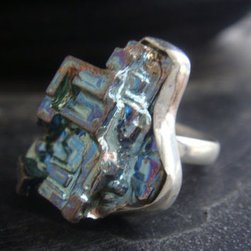 Rainbow Bismuth Ring Ready to Ship