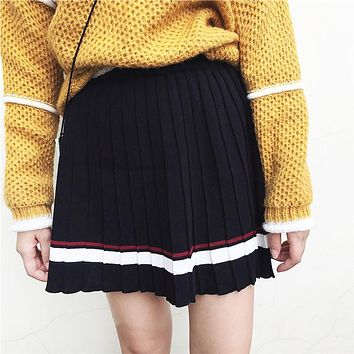 Kawaii Women Pleated Skirt Harajuku Striped Preppy Style Skirts Lolita Saia Cute School Uniforms Faldas Ladies Jupe 2SK115