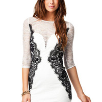White Lace Dress with Contrast Lining