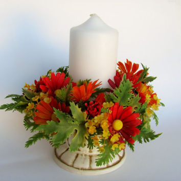 Vintage Plastic Candle Wreath Thanksgiving Fall Autumn Kitschy Decor Orange Yellow Floral Table Centerpiece