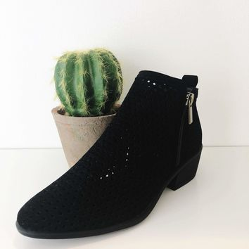 Women's Bootie with Side Zipper and cutouts
