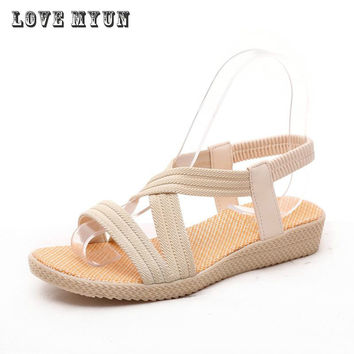 Bohemia Fashion Women Sandals shoes woman Flat 2017 Summer Ankle strap Ladies Shoes Hot Sandalias Mujer 3 Color 35-40 Size