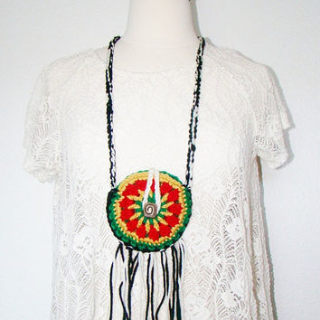 FREE SHIPPING - Festival Pouch with Fringe and Button - Coin Purse, Medicine Bag, Wallet, Necklace - Rasta, Red, Yellow, Green, Black