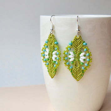 Green macrame earrings - bright chartreuse turquoise white earrings, beaded earrings, beadwork, flower jewelry