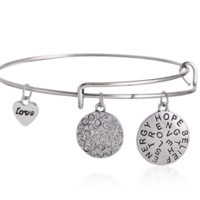 "Alex and Ani style letter ""hope、strength"" pendant charm bracelet,a perfect gift !"