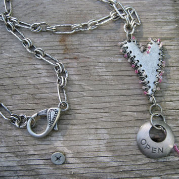 Stitched Back Up - Metal Heart and Charm Pink Bead Necklace