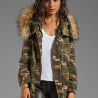 Capulet Military Parka with Faux Fur Trim in Army