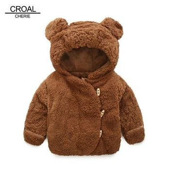CROAL CHERIE 60-100cm Winter Jacket For Girls Cute Bear Velvet Baby Girls Clothing Coats For Newborns Cotton Fleece Overalls