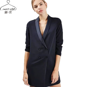 Suit Blazer Female Long Double Breasted Ladies Blazers  Blazer Jacket dress casual fashion women office blazer