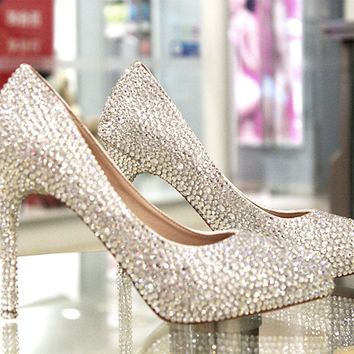 Luxury Rhinestone Pointed Toe Stiletto Cinderella Crystal Heels