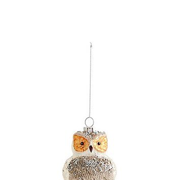 Glass Owl Bauble with Glitter | Marks & Spencer London