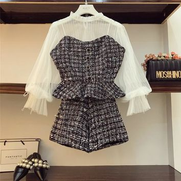 Womens  Lace Shirt +sling Tweed Vest + Shorts 3 Pieces
