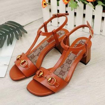 Gucci Women Fashion Simple Casual Low Heeled Sandals Shoes