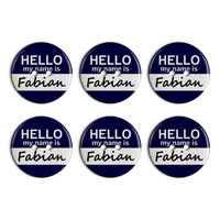 Fabian Hello My Name Is Plastic Resin Button Set of 6