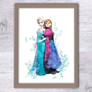 Disney Frozen Anna and Elsa poster Disney princess Elsa and Anna print Baby shower gift Kids room wall art Nursery room decor Gift idea V139