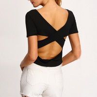 Black Cut Out T Shirt 10311