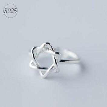 Open David of Star Ring Magen Hebrew Shield protection jewelry Jewish Real. 925 Sterling Silver Adjustable size GTLJ796