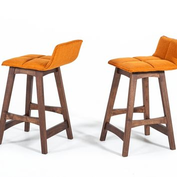 Modrest Candice Modern Orange & Walnut Bar Stool (Set of 2)