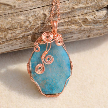 Agate necklace, wire wrapped stone, copper necklace, statement necklace, gemstone pendant, ooak necklace, montana jewelry, gift for her,boho