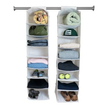 Evelots Set Of 2 - 8 Shelf Hanging Closet Organizers, White