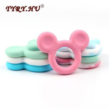 TYRY.HU Baby Silicone Teether Mickey Head Beads Pendant 10pc Cute Teething Chew Toys For Baby Newborn Dental Care Tooth Training
