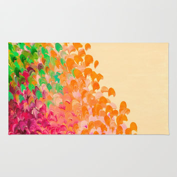 CREATION IN COLOR Autumn Infusion - Colorful Abstract Acrylic Painting Fall Splash Ombre Ocean Waves Rug by EbiEmporium