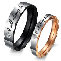 "(Male + Female)""I will always be with you"" W/ CZ Stone Faceted Edge 316 l Stainless Steel Titanium Wedding Band Anniversary/Engagement/Promise/Couple Ring Best Gift! [8958433799]"
