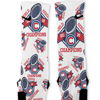 Cubs World Series Champions Custom Nike Elite Socks