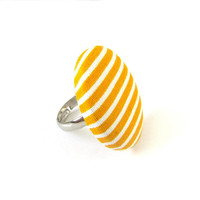 Large striped ring - yellow white stripes - big button ring - fabric covered ring adjustable - statement jewelry - gift ideas for women