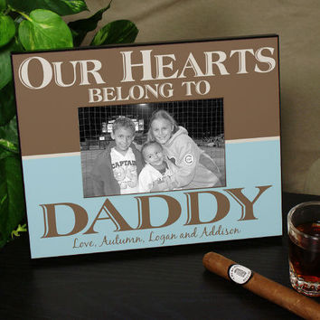 Personalized Our Hearts Belong To Daddy Printed Picture Frame - 441560