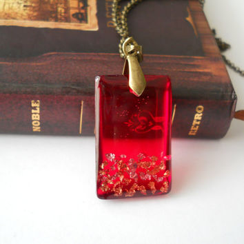 Red rectangle pendant, gold foil, antique brass necklace, gold flakes, resin jewelry, geometric necklace, geometric pendant, resin pendant