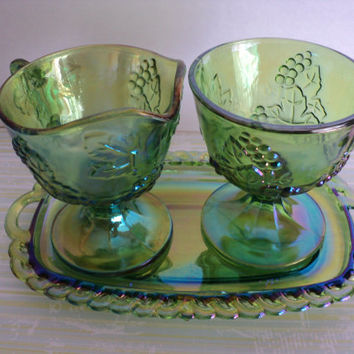Carnival Glass Lime Green Sugar and Creamer Set with Tray Indiana Glass 1974 Harvest Grape Pattern