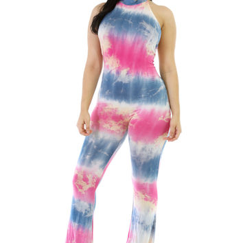 Rosy Blend Tie-Dye Bell Bottom Jumper