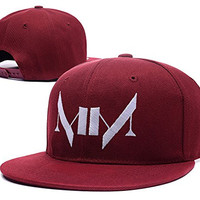 YUDUODUO Marilyn Manson Logo Adjustable Snapback Caps Embroidery Hats - Red