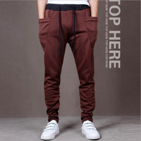 Mens Fashion Printed Casual Harem Sweat Pants Jogger Dance Taper Slacks Trousers