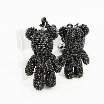 Cartoon Bear Keychain Crystal Rhinestone Decorative Pendant Anime Keychains for Women Bags Car Key Chain Phone Accessories Gifts