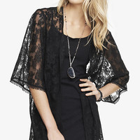 Lace Mesh Kimono - Pitch Black from EXPRESS