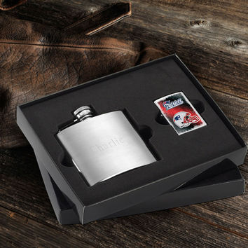 Personalized NFL Lighter and Brushed Flask Gift Set - Patriots