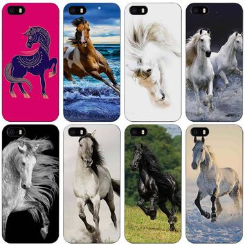 Running Horse Black Plastic Case Cover Shell for iPhone Apple 4 4s 5 5s SE 5c 6 6s 7 Plus