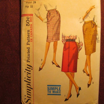 SALE Uncut 1960's Simplicity Sewing pattern, 5121! Waist 24/Hip 33/Small/Women's/Misses/Easy Sew Skirts/Pleated Straight Skirts/Business For