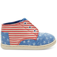 TOMS Blue Canvas Stars Stripes Tiny TOMS Paseo Mids Blue