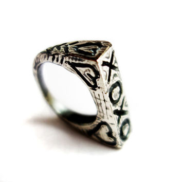 XOXO - Hand Carved Heavy Cast Ring Sterling Silver