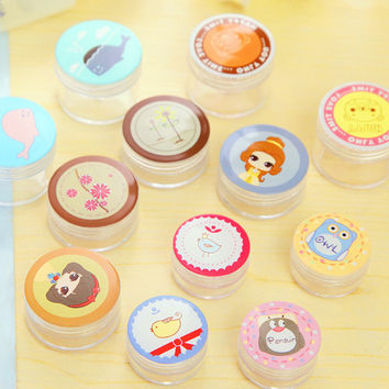 2 Pcs Mini Cosmetic Storage Boxes Emulsion Pills Contact Lens Case Super Cute Mini Portable Storage box