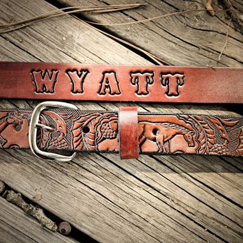 Kid's Handmade Leather Belt with Horses and Name Engraved Free