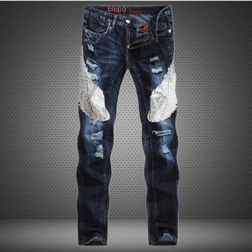 Men's Fashion Blue Mosaic Slim Jeans [6541737539]