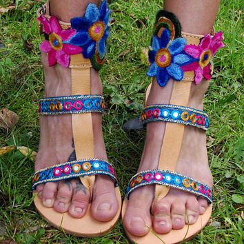 "Gladiator Sandals ""Shiva"", Greek Leather Boho sandals, Strappy sandals, colorful hippie sandals, Indian mirror sandals, ethnic blue flats"