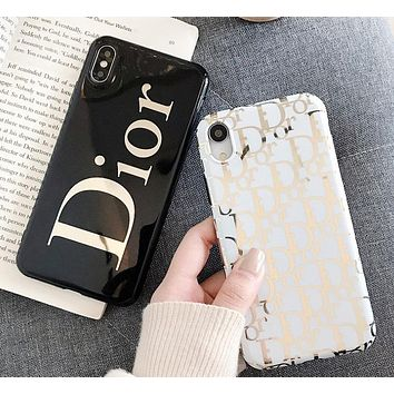 DIOR Fashion New Letter Print Women Men Phone Case Protective Cover